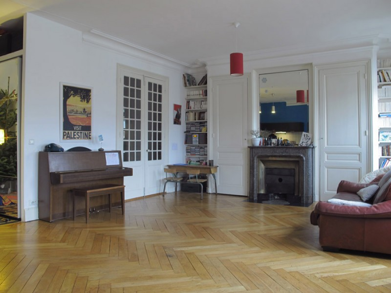 Salon parquet chevron