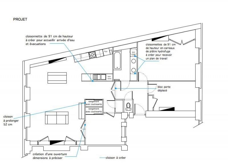 Plan du projet d'aménagement d'un appartement bourgeois à Lyon
