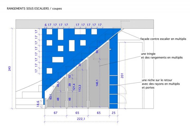 Plan de détail des rangements sous escaliers