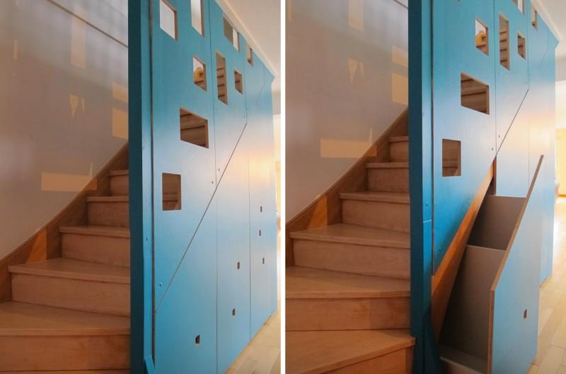 Rangements astucieux sous escalier