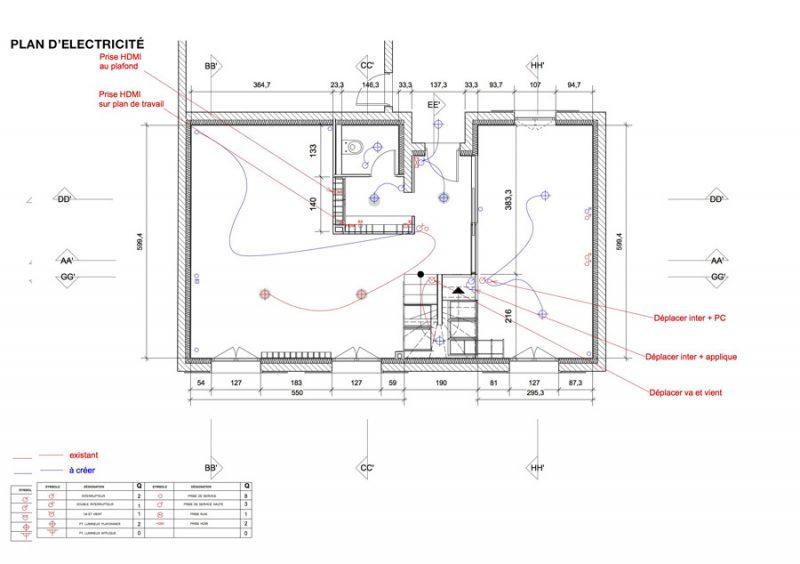 Plan électrique du projet d'aménagement par Adelila, architecture d'intérieur
