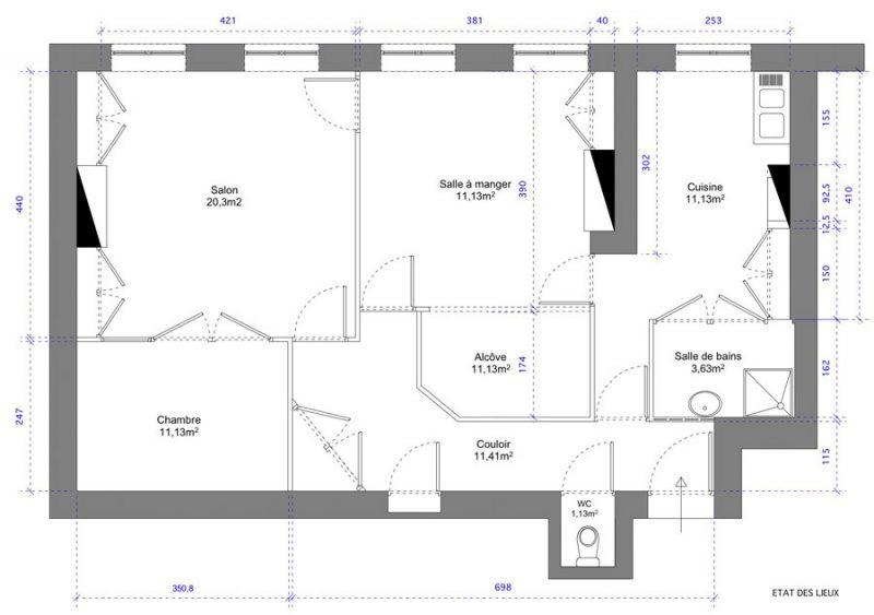 Plan état des lieux d'un appartement ancien à Lyon