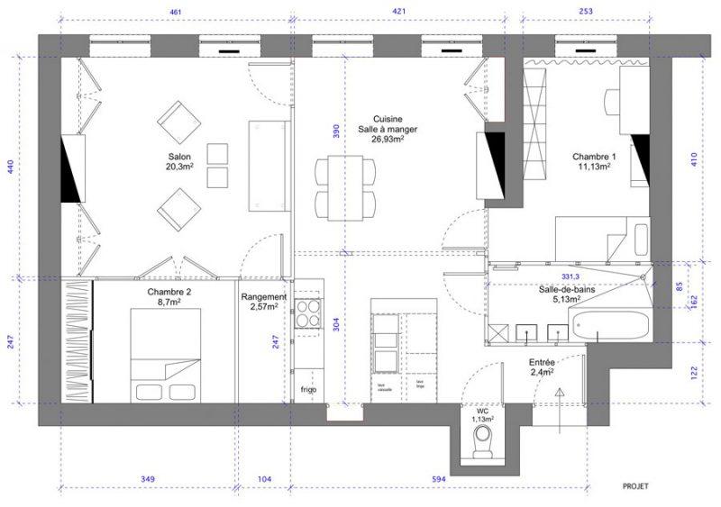 Plan projet d'un appartement ancien à Lyon