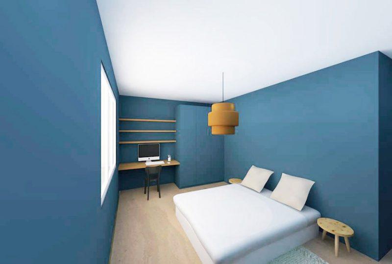 Chambre bleue avec bureau